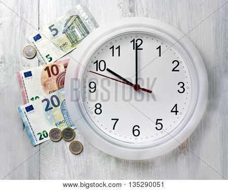 'Time is money' concept: a photo of a typical white office clock with euro banknotes and coins around it slightly toned in blue