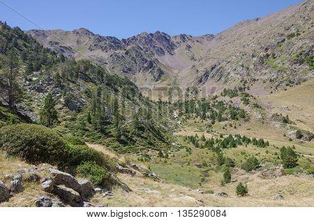 Mountain Valley In Pyrenees Near Coma Pedrosa Peak. Andorra