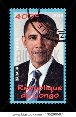 CONGO - CIRCA 2010 : Cancelled postage stamp printed by Congo, that shows Barack Obamma.