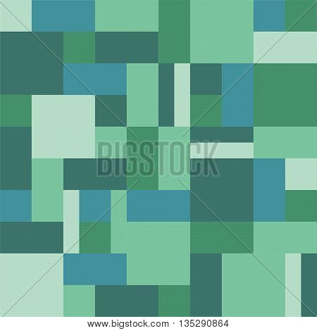Geometric background rectangles and squares vector. Geometric background vector. Squares background vector. The patchwork or quilt. Quilt pattern vector. Pixel art. Aqua, turquoise color.