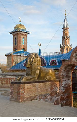 KAZAN, RUSSIA - MAY 02, 2016: Sphinx sculpture at the entrance to the Temple of all religions. Religious landmark  of the city  Kazan, Tatarstan