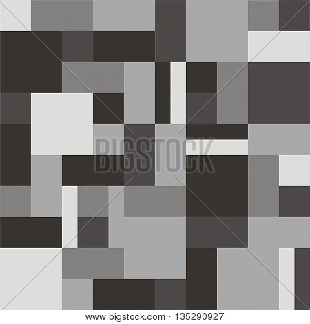 Geometric background rectangles and squares vector. Geometric background vector. Squares background vector. The patchwork or quilt. Quilt pattern vector. Pixel art. Gray color