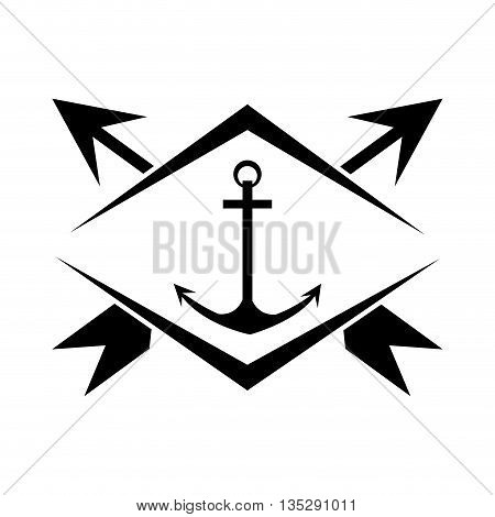 anchor in center of emblem with two crossed arrows in the background vector illustration