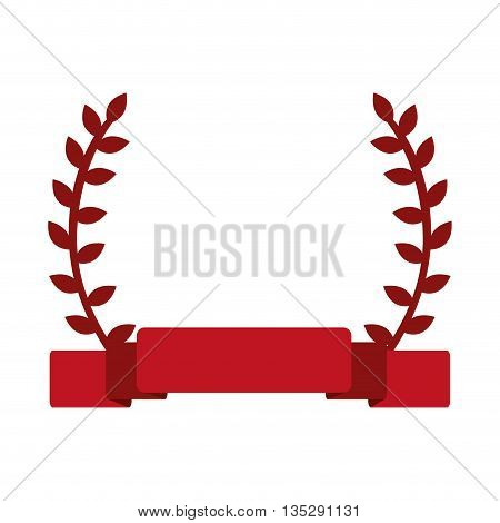 red laurel wreath with banner in the middle vector illustration
