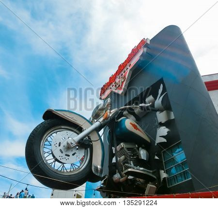 LAS VEGAS, USA - MAY 05, 2016: Harley Davidson cafe on July 8, 2013 in Las Vegas. Over 15 custom motorcycles are on display throughout the Cafe, including bikes from Billy Joel, Elvis and Ann-Margaret.