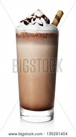 Delicious chocolate milkshake, isolated on white
