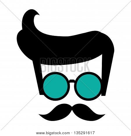 hipster shabby hair with round frame glasses and mustache vector illustration