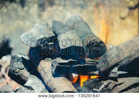 Wood Charcoal And Fire Flames
