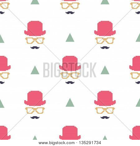 Vintage hipster symbol seamless pattern with hat and glasses. Stylish retro print for covering or wrapping. Vector Illustration background.