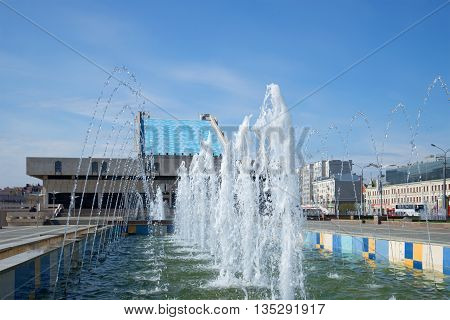 KAZAN, RUSSIA - MAY 02, 2016: The cascade of fountains at the theatre Kamala, sunny may day. Tourist landmark of the city Kazan, Tatarstan