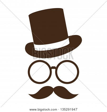 classic tophat with glasses and full mustache vector illustration