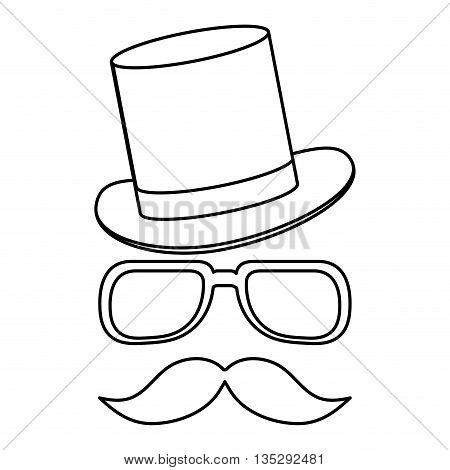 simple black line classic hat with glasses and full mustache vector illustration