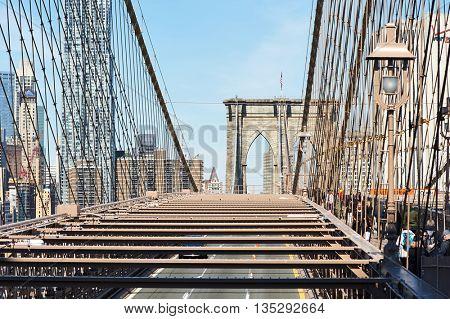 NEW YORK CITY - APRIL 1: Brooklyn Bridge in New York City, USA,  April 1 2014 in New York, USA