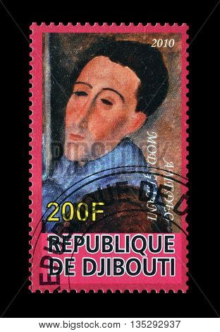 DJIBOUTI - CIRCA 2010 : Cancelled postage stamp printed by Djibouti, that shows painting by Amadeo Modigiani.