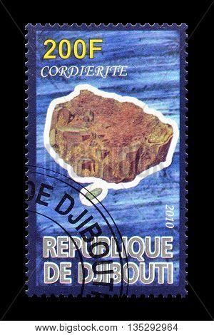 DJIBOUTI - CIRCA 2010 : Cancelled postage stamp printed by Djibouti, that shows Cordierite.