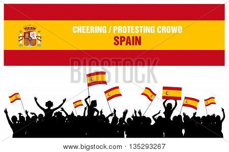 Spain silhouettes of cheering or protesting crowd of people with flags and banners of Spain.
