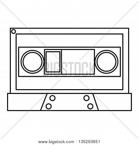 simple black line cassette vector illustration flat icon style