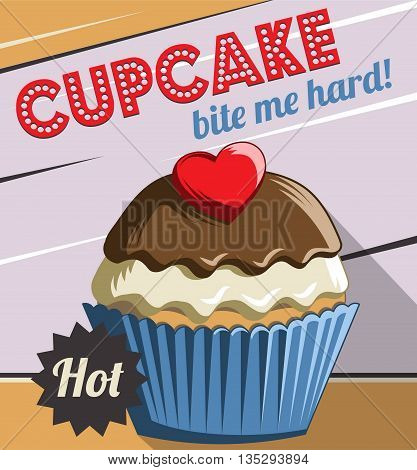 Vintage retro stylized customizable sweet cupcake muffin poster template. Replace text to customize template for special offer at cafe or bakery, use for any other design purposes.