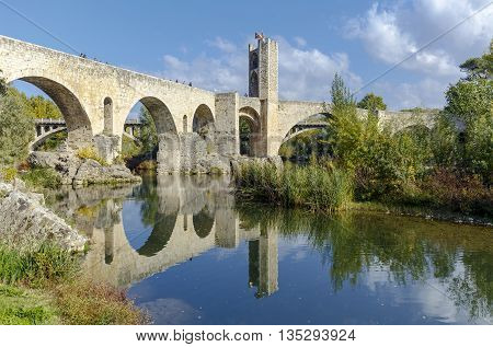 Besalu Spain - November 1 2015: Besallu Spain a Catalan village seems to have stopped the clock in the middle ages.