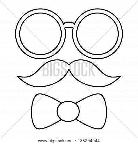 simple black line glasses mustache and bowtie vector illustration