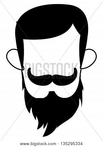 man with hipster haistyle and mustache and full beard vector illustration