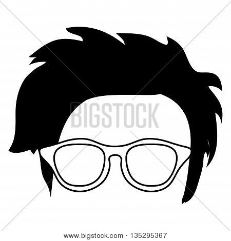 hipster shabby hair with glasses and mustache vector illustration
