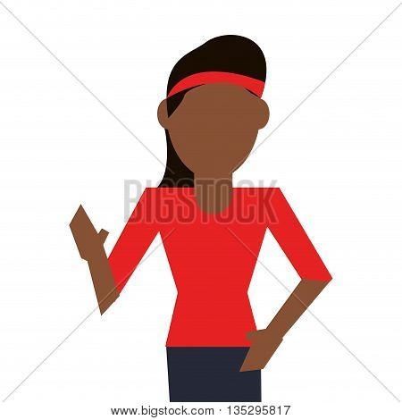 dark skin woman with red sweater and headband vector illustration
