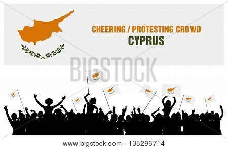 Cyprus silhouettes of cheering or protesting crowd of people with flags and banners of Cyprus.