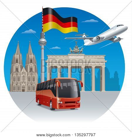 concept illustration of travel and tour in germany and berlin