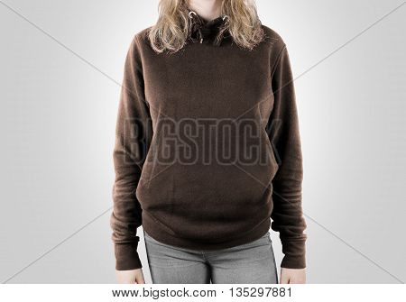 Blank brown sweatshirt mock up isolated. Female wear dark hoodie mockup. Plain hoody design presentation. Clear loose overall tshirt model. Pullover for print. Man clothes sweat t-shirt template.