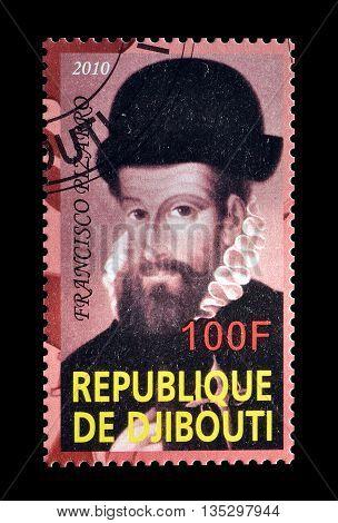 DJIBOUTI - CIRCA 2010 : Cancelled postage stamp printed by Djibouti, that shows Francisco Pizarro.