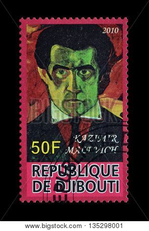 DJIBOUTI - CIRCA 2010 : Cancelled postage stamp printed by Djibouti, that shows painting by Kazimir Malevich.