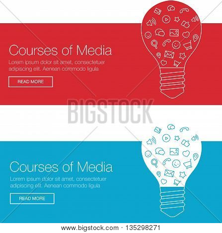 Tools and services for network designers. Light bulb with icons in flat style for UX tool, program, slide. Vector illustration template banner for wesite header advertisement.