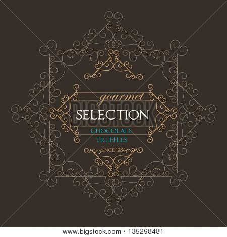 Chocolate Retro Design wit florish border and vintage frame