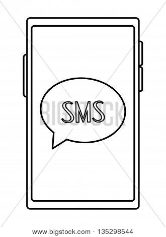 cellphone with round conversation bubble with sms inside on screen vector illustration