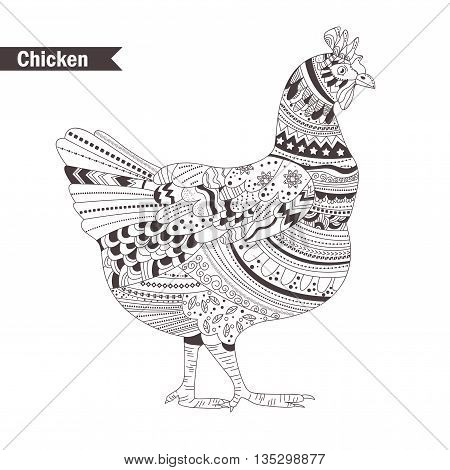 Chicken. oloring book for adult, antistress coloring pages. Hand drawn vector isolated illustration on white background. Henna mehendi, tattoo sketch