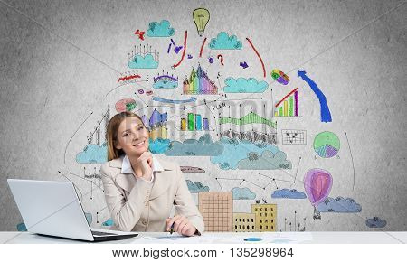 Pensive businesswoman with pen in hands thinking over her business plan