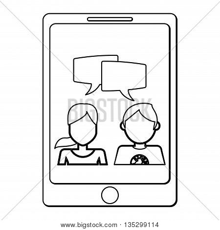 cellphone showing man and woman talking vector illustration