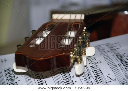 Guitarra y hojas
