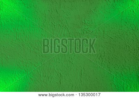 Textured Plaster Lime Color Background with Light Rays in Corners