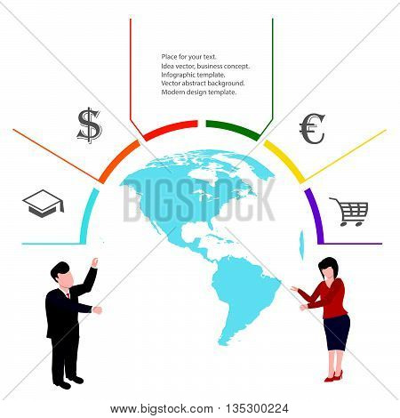 Business concept infographic.Teamwork concept infographic.Minimalist infographics concept.Collaboration of people.World map infographic.Infographic design template.