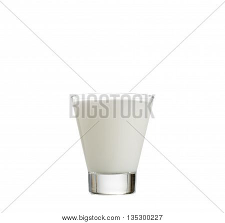 fresh milk in the glass on white background, isolated.