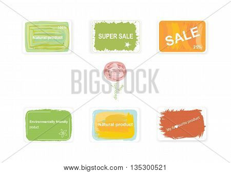 Labels on discounts and environmentally friendly products.