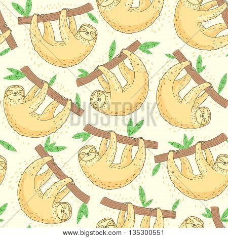 Hand drawn sloth animal seamless pattern. Cute background