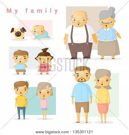 Set of big family, vector , illustration