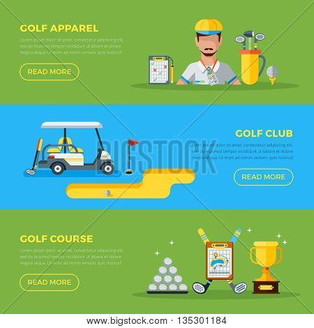 Horizontal green and blue golf club banners with golf car course hole and apparel flat vector illustration