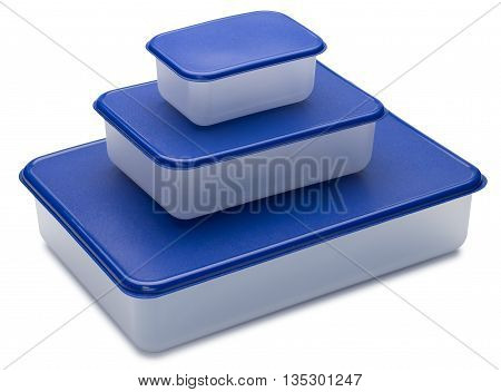 Three white plastic containers with blue caps. Isolated on the white background. With shadow.