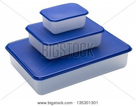 Three white plastic containers with blue caps. Isolated on the white background. No shadow