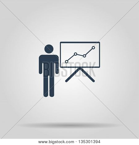 Presentation sign icon. Man standing with pointer. Scheme and Diagram symbol.