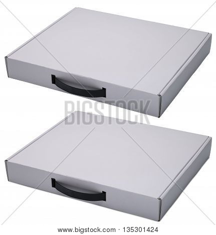 Flat white cardboard box with handle. Isolated on the white with shadow and without. In horizontal situation.